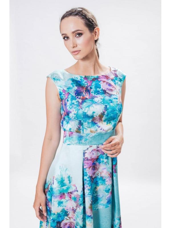 Rochie lungă turcoaz cu imprimeu floral