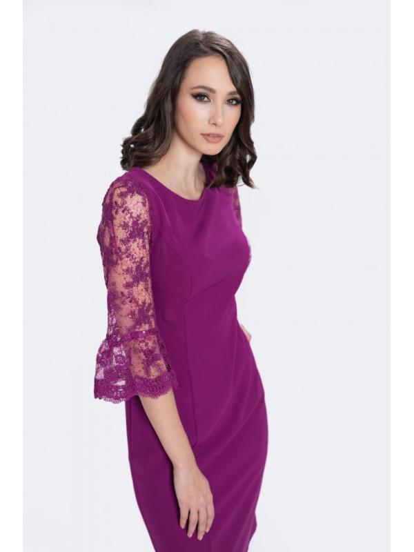 Rochie violet cu mâneci din dantelă