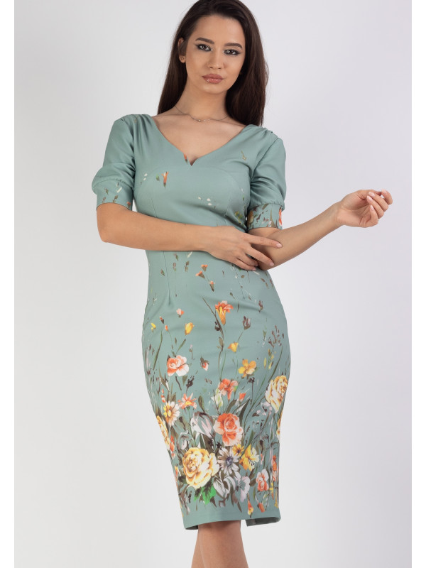 Rochie conica print floral Verde Moze