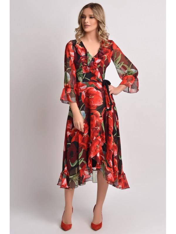 Rochie din voal cu imprimeu floral Ginette