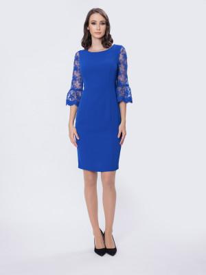 Rochie albastru regal cu dantelă