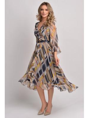Rochie din voal cu imprimeu geometric Ginette