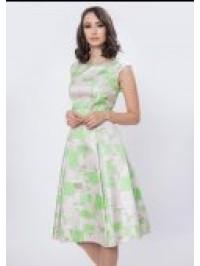 Rochie din tafta cu imprimeu verde