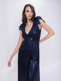 Rochie lungă bleumarin din lurex