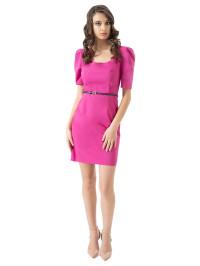 Rochie roz de zi cu pIii la maneci Mizar